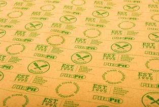 Printed brown greaseproof food service wrap